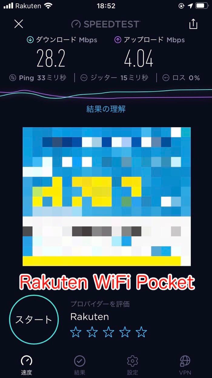 Rakuten WiFi Pocketのスピードテスト