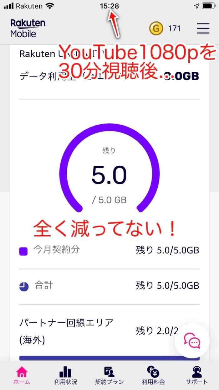 5.0GB表示のまま!