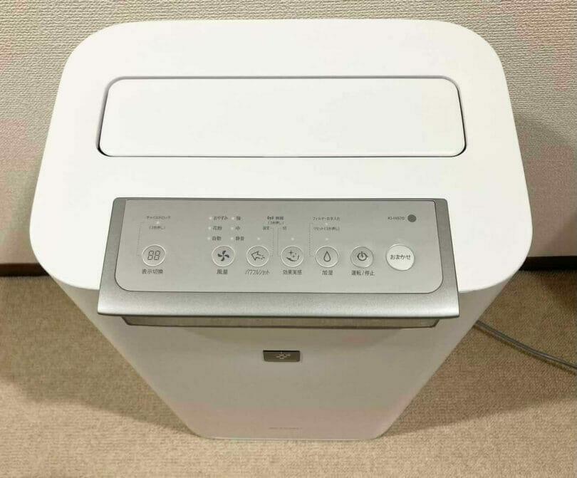 SHARP加湿空気清浄機の本体のボタン