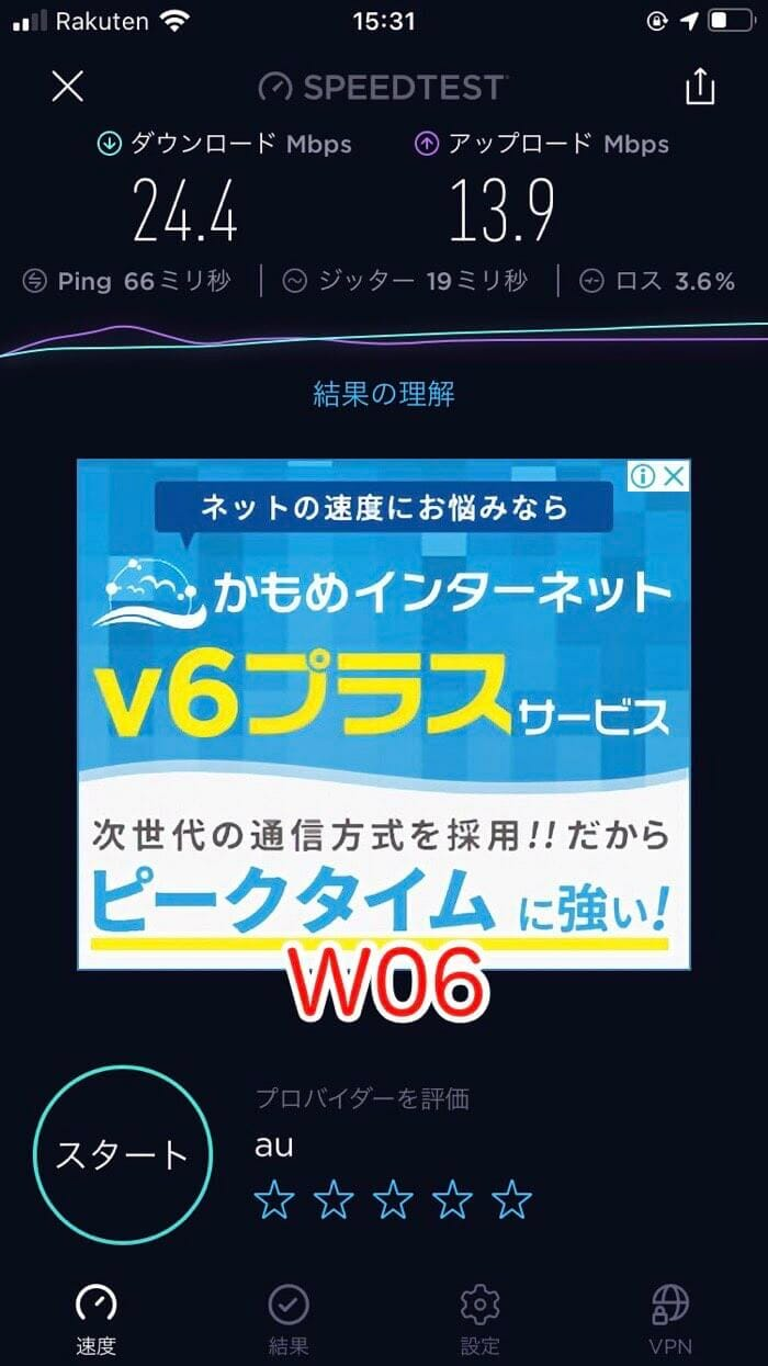 W06のスピードテスト