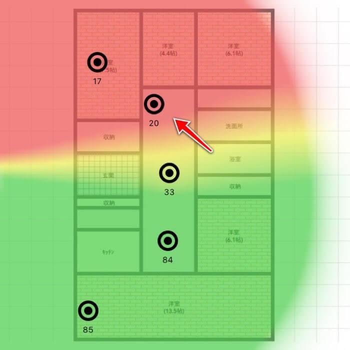 クレードルなしの場合の通信範囲(Wi-Fiミレルのヒートマップ)