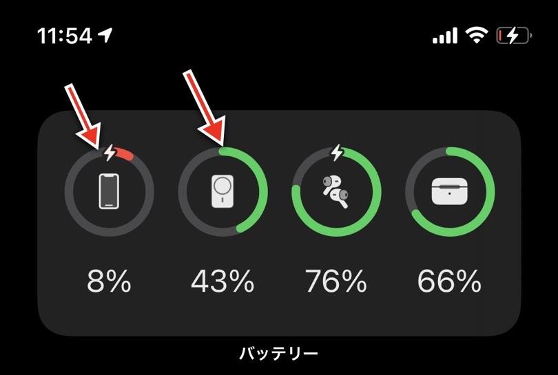 iPhoneを操作した状態でのバッテリー推移